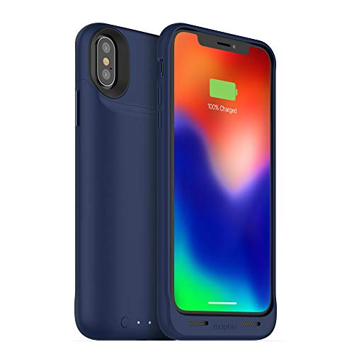 mophie juice pack wireless - Qi Wireless Charging - Protective Battery Case Made for Apple iPhone X - Blue