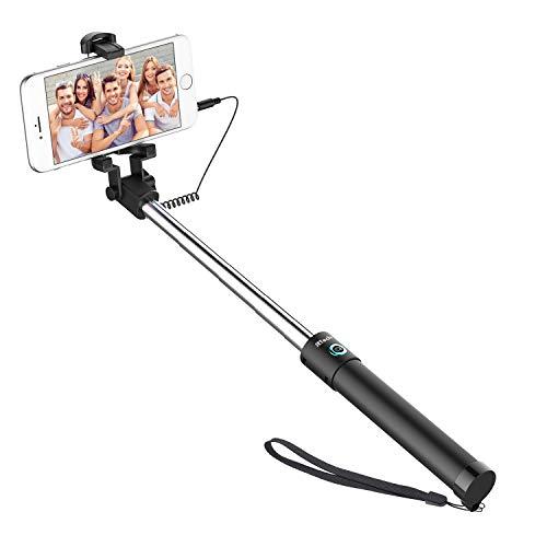 JETech Battery Free Selfie Stick Extendable Cable Control Self-portrait Monopod Pole with...