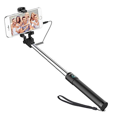 JETech Battery Free Selfie Stick Extendable Cable Control Self-portrait Monopod Pole with Mount Holder for Apple iPhone 6/6 Plus/5/4, iPod, Samsung Galaxy S6/S5/S4/S3, Note 4/3/2 and More
