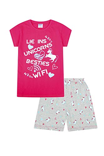 ThePyjamaFactory, Mädchen-Pyjama kurz mit Aufdruck 'Lie Ins Unicorns Besties Wifi', Pink Gr. 15-16 Jahre, rose