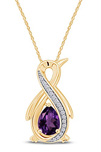 """Pear Simulated Amethyst & Diamond Accent Infinity Penguin Pendant Necklace 14k Yellow Gold Over Sterling Silver with 18"""" Chain -  AFFY, MNo-CSP-31120191-AMT-YSL"""
