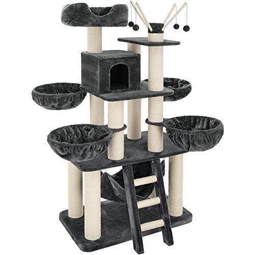TecTake 800740 XXL Kratzbaum, Massive Bauweise für schwere und große Katzen, besonders große Sisalsäulen, mit viel Zubehör, LxBxH 130x79x195 cm - Diverse Farben - (Grau/Weiß | Nr. 403327)