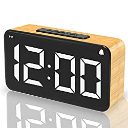 Alarm Clock, Wood Grain Clock with Snooze Function, 6 Adjustable Brightness Dimmer, 6'' White Bold LED Digit Display Easy Digital Alarm Clock, USB Charged with Adapter for Bedrooms, Desk and office