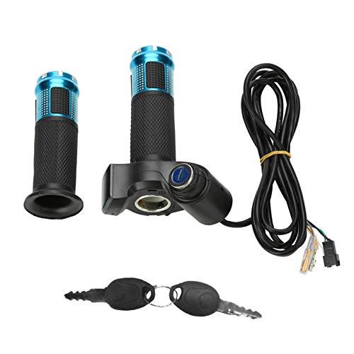 Scooter Drehgas, Pocket Bike Gasgriff, Twist-Gasgriffe, Gasgriff E Scooter mit Anzeige, 22 mm Elektro Lenker Gasgriffe mit LED-Bildschirmgriff und Schlüsselklopfen(Blau)