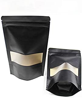 ALLINCLUSIVE 4.7x8/2.4oz Inches Kraft Paper Resealable Bags Zip Lock Black Stand up Snack Packing Zipper Pouch Bags with M...