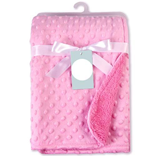 NEWMAN771Her Kinderbettdecken, 2 Schichten Babybettdecke mit 3D-Prägung mit gepunktetem Rücken, weiche Wickelverpackung für Kinderbett-Kinderwagen