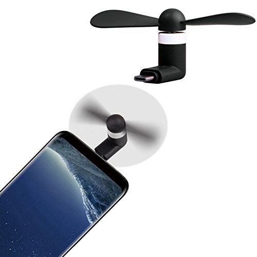 MOELECTRONIX USB 3.1 Typ C Ventilator passend für Motorola One Action | Mini Fan Lüfter Reise Kühler | Schwarz