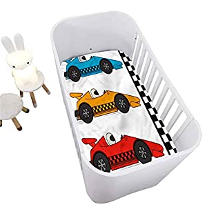 Boys Room Crib Fitted Sheet,Race Cars at Start Line Decorative Microfiber Crib Sheet for Standard Crib and Toddler mattresses Nursery Bedding Sheet Crib Mattress Sheets for Boys and Girls,28″ x 52″