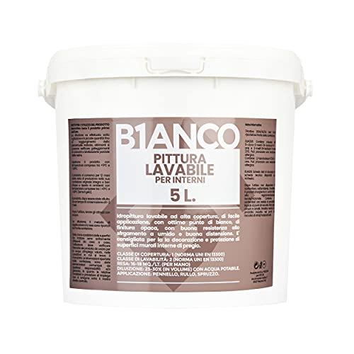B1anco Pittura murale Lavabile per interni ad alta copertura, ottimo punto di bianco, Finitrura Opaca, Latta da 5 Litri