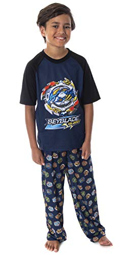 Beyblade Burst Boys' Wizard and Spinner Tops 2 Piece Pant/Raglan Pajama Set (Medium 8)