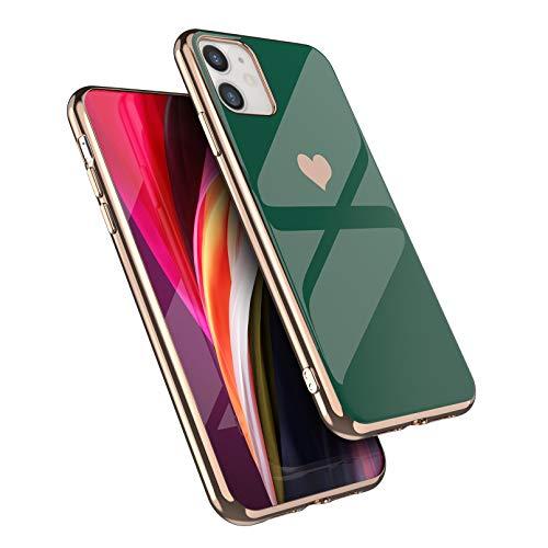 EYZUTAK Carcasa para iPhone 11 de 6.1 pulgadas de silicona suave TPU Slim Case Galvanizado Corazón Teléfono Caso Simple Lujo a prueba de golpes Funda protectora - Verde oscuro