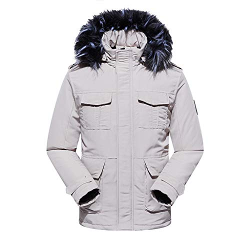 Great Price! Mens Puffer Jacket with Hood Winter Coat Plus Size Parka Thickened Hooded Windbreaker w...