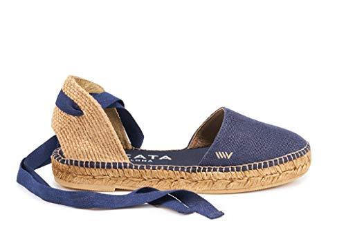 VISCATA Sandalo fatto a mano in Spagna Candell lino, morbido legame alla caviglia, punta chiusa, Espadrilles Flats, Blu (Dainty), 38 EU