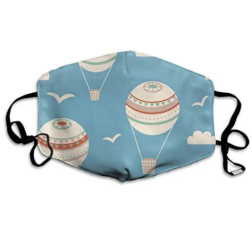 N/C Nahtloses Muster mit Luftballons, Vektor-Illustration, halbes Gesicht, winddicht, wiederverwendbar, bequem, atmungsaktiv, für Damen und Herren