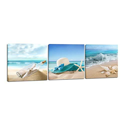 Wieco Art - Quadro su tela con 3 pannelli, motivo: stelle marine, conchiglie, bottiglia da spiaggia, paesaggio marittimo, decorazione per camera da letto, casa, ufficio