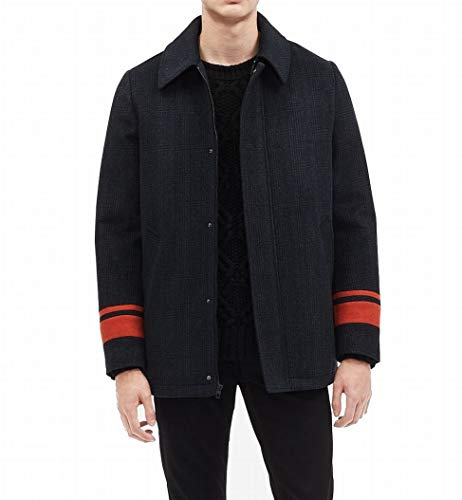 CALVIN KLEIN Men's Striped Wool Blend Car Coat