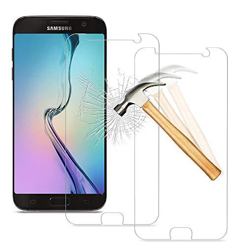 wsky [2 Stück] Panzerglas für Samsung Galaxy S7, Anti-Fingerabdruck/Öl Schutzfolie, Ultra Durable Panzerglasfolie, HD Klar Folie Displayschutz, 9H Härte Glas für Samsung S7