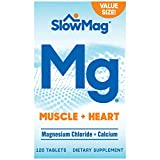 SlowMag Mg Muscle + Heart Magnesium Chloride with Calcium Supplement, 120 Count