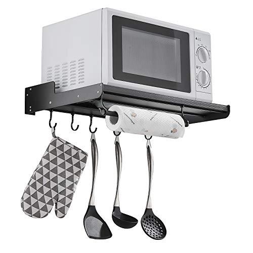Mikrowellenhalterung mit 5 Hakens, Universalwandhalterung für Mikrowellen, Grillofen, Backofen