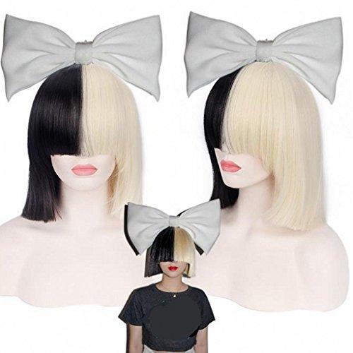 Ani·Lnc Schwarz & Hell Gold perücke Cosplay Wig Lady Anime kurze Haare