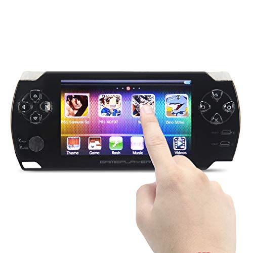 CZT 4.3 inch Touch Screen Handheld Video Game Console 8GB Build in 1200 Games for arcad/CPS/Flash/gba/fc/gbc/SMD/SFC MP3/4 DV/DC Rechargeable Lithium Battery (Black)