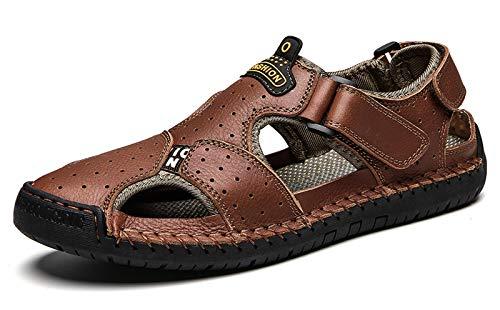 URVIP Herren Fashion Wandern Sandalen Atmungsaktiv Outdoor Sommer Fischer Schuhe Geschlossener Toe Einstellbar Leder Faule Schuhe Braun-02 40 EU