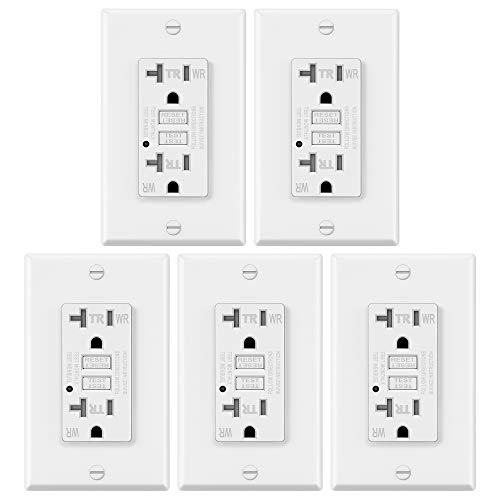 5 Pack – ELECTECK 20A GFCI Outlets, Weather Resistant (WR) GFI with LED Indicator, Tamper Resistant (TR) Ground Fault Circuit Interrupter, Decor Wall Plates Included, ETL Certified, White