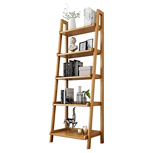 Estantería de Madera Maciza For Estantes Escalera apoyable Bookcase Mostrar 5-Tier Escalera Estante Muebles Modernos (Color : Yellow, Size : 163x60x35.3cm)