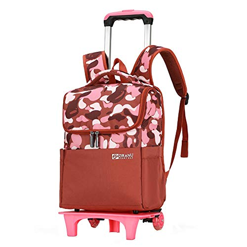 Wheeled Backpacks-Nylon Rolling Backpack with Wheels Trolley Backpack for Travel Kids Teenagers Students 2Wheels GWBI-red