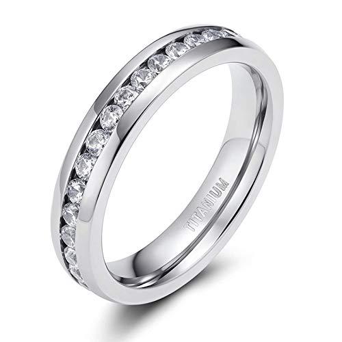 Zakk Damen Eternity Ring Titan Ewigkeitsring Eheringe 4mm 6mm Silber Memoire Ringe Hochzeitsring (4mm, 49 (15.6))
