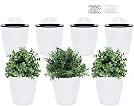 Pomeat Self Watering Hanging Planters, 7 Pack Lazy Flower Pot Wall Plant Holder for Succulents Plants Flowers Indoor Outdo...