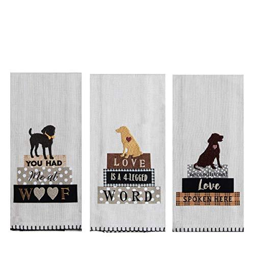 18TH STREET GIFTS Dog Print Dish Towels - Set of 3 Decorative Dish Towels