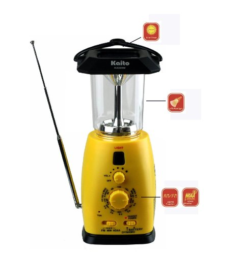 Kaito KA249W Multi-Functional Solar/Wind-up LED Camping Lantern with AM/FM NOAA Weather Radio & Cell Phone Charger, Color Yellow