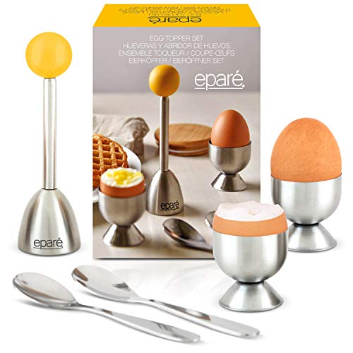 Egg Cracker Topper Set - Complete Soft Boiled Egg Tool Set - Includes Egg Cups Cutter & Spoons - Holder Cup Spoon & Peeler - Easy Eggs Opener by Eparé