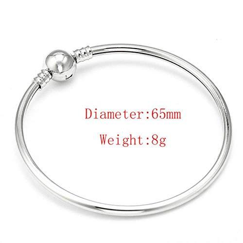 Europese en Amerikaanse Mode Sieraden-17 21Cm Zilveren Slang Ketting Link Armband Fit Charm Merk Armband voor Wdiy Sieraden maken, Thumby 21cm Platina