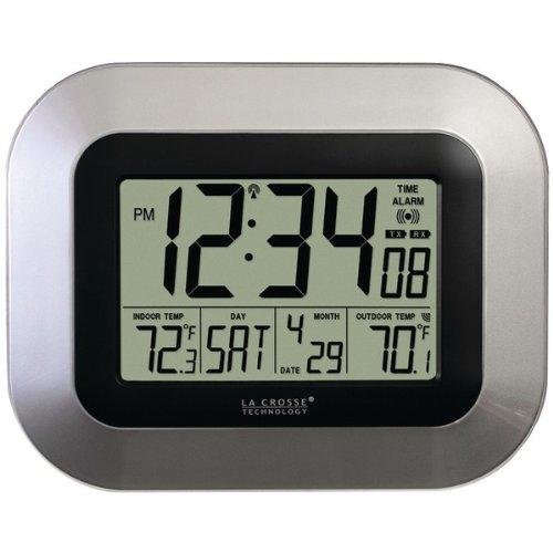Lacrosse Ws-8115u-S 8.95 X 7.09 Chrome/Black Atomic Digital Wall Clock