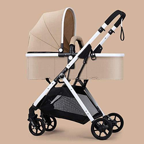 Landaus High View Poussette bébé, Poussette Buggy Compact, Portable Pram Transport Anti-Choc Poussette Fournitures pour bébé ( Color : Brown )