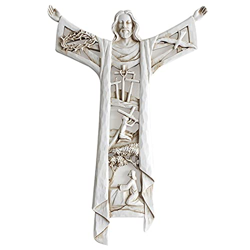 Eine auferstandene Christus-Wand-Kreuz-Statue religiöses Harz Jesus Figur hängende Wandverzierung hohles Design für Zuhause