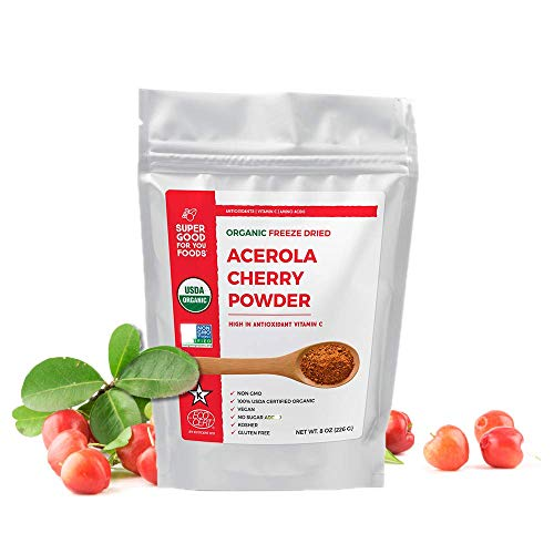 Super Good For You Foods USDA Certified Organic Freeze Dried Acerola Cherry Powder| Gluten-Free, Non-GMO, Vegan, No Sugar Added, Kosher, 4 oz