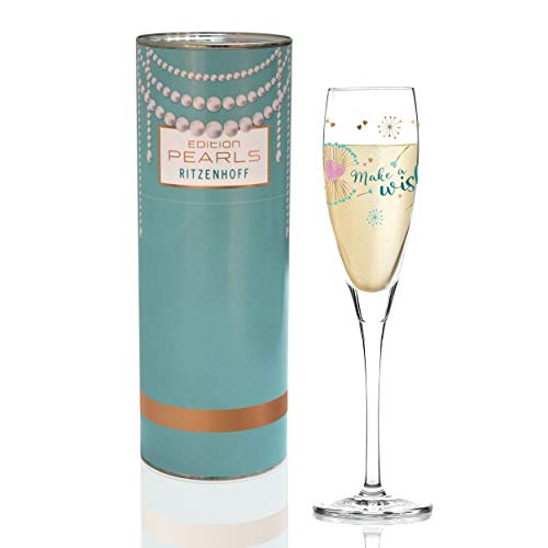 Ritzenhoff Pearls Edition Prosecco Glass by Kathrin Stockebrand (Dandelion), Crystal Glass, 160 ml, with Elegant Rose Gold Content
