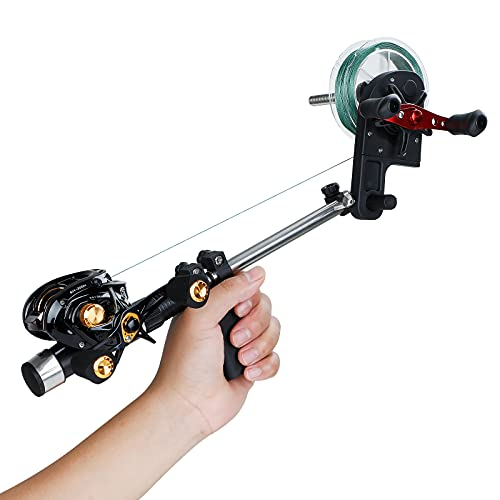 PLUSINNO Fishing Line Spooler, Handhold Fishing Line Winder with Unwinding Function for Spinning Reel, Cast Reel and Spincast Reel Without Line Twist