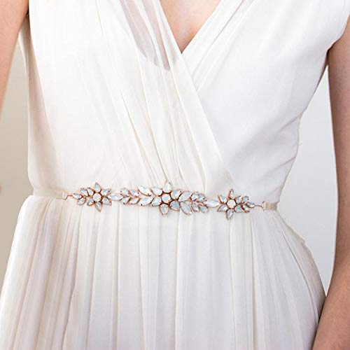 Sarekabride Opal Bridal Belt Leaves Crystal Rhinestone Wedding Belt Wedding Dress Belt for Bride and Bridesmaid, Rose Gold-White, One size