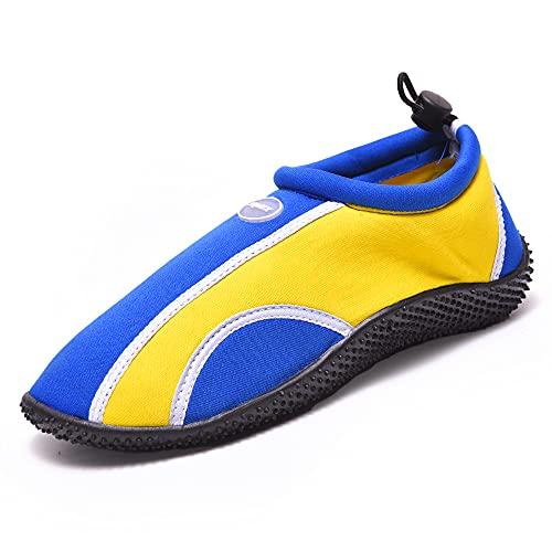 JOMIX Zapatillas de buceo para hombre y mujer, antideslizantes, para la playa, Blueyellow, 43 EU