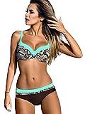 Voqeen Mujer Bikini de Gradiente de Color Establece Retro Empuja hacia Arriba Dos Piezas Acolchadas Lunares/Rayas/Cristal Impresa Ropa de Playa Traje de baño