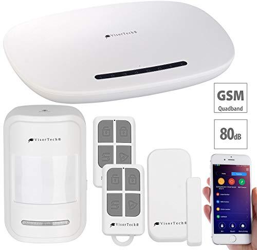 VisorTech Hausalarm: GSM-Alarmanlage mit Funk- & Handynetz-Anbindung, App für Android & iOS (Kabellose Alarmanlage)