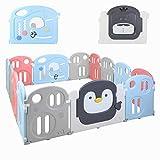 Bamny Laufgitter Baby Laufstall 200 * 180cm, Absperrgitter, Krabbelgitter, Laufställe, Schutzgitter aus Kunststoff mit Tür - Für Kinder von 0 bis 6 Jahren geeignet(12+2)