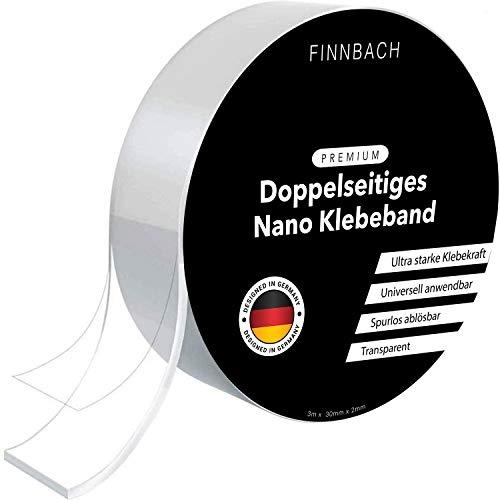 Premium Nano Tape [3 Mtr] Doppelseitiges Klebeband |Nanotape doppelseitig Extra Stark transparent |Kleber spurlos ablösbar und wiederverwendbar |waschbar und rutschfest