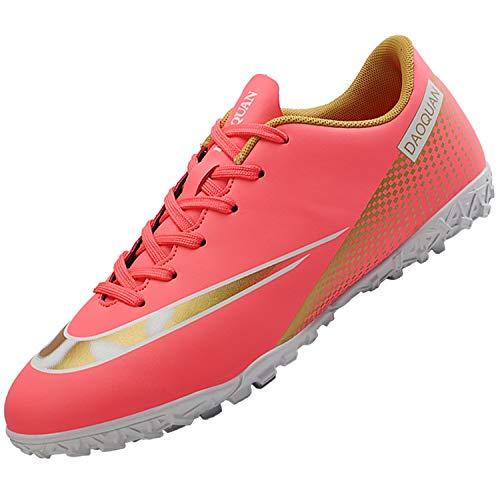 Topwolve Zapatillas de Fútbol para Hombre Profesionales Botas de Fútbol Aire Libre Atletismo Zapatos de Entrenamiento Zapatos de Fútbol,Rosa,36 EU