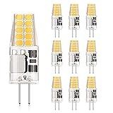 DiCUNO Bombilla LED G4, 3W 20 * 2835 equivalente a la lámpara halógena de 30W, No regulable, 300LM, AC/DC 12V, Blanco cálido 3000K, Ángulo de haz de 360° - 10 Piezas