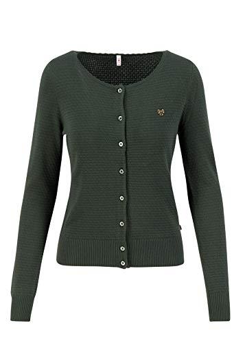 Blutsgeschwister Damen Cardigan Strickjacke Save The Brave Cardy Rundhals Uni Grün XL